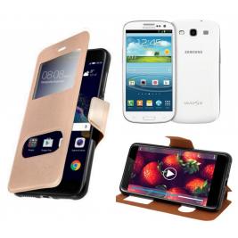 HOUSSE ETUI FOLIO SAMSUNG Galaxy S3 - i9300 (Doré)