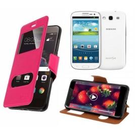 HOUSSE ETUI FOLIO SAMSUNG Galaxy S3 - i9300 (Rose)