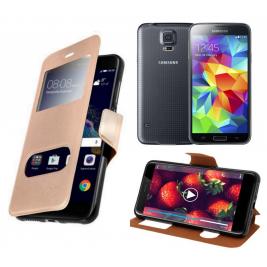 HOUSSE ETUI FOLIO SAMSUNG Galaxy S5 G-900 (Doré)