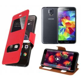 HOUSSE ETUI FOLIO SAMSUNG Galaxy S5 G-900 (Rouge)