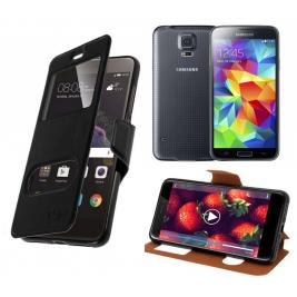 HOUSSE ETUI FOLIO SAMSUNG Galaxy S5 G-900 (Noir)