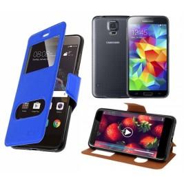 HOUSSE ETUI FOLIO SAMSUNG Galaxy S5 G-900 (Bleu)