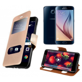 HOUSSE ETUI FOLIO SAMSUNG Galaxy S5 G-920 (Doré)