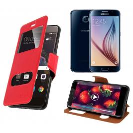 HOUSSE ETUI FOLIO SAMSUNG Galaxy S5 G-920 (Rouge)