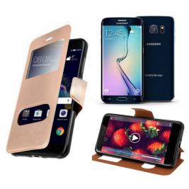 HOUSSE ETUI FOLIO SAMSUNG Galaxy S6 Edge (Doré)