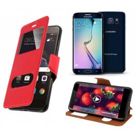 HOUSSE ETUI FOLIO SAMSUNG Galaxy S6 Edge (Rouge)