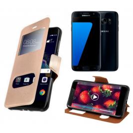 HOUSSE ETUI FOLIO SAMSUNG Galaxy S7 (Doré)