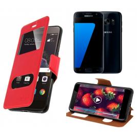 HOUSSE ETUI FOLIO SAMSUNG Galaxy S7 (Rouge)