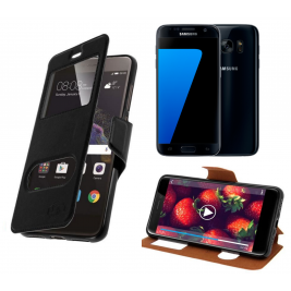 HOUSSE ETUI FOLIO SAMSUNG Galaxy S7 (Noir)