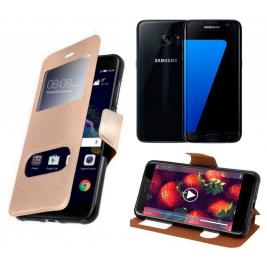 HOUSSE ETUI FOLIO SAMSUNG Galaxy S7 Edge (Doré)