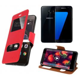 HOUSSE ETUI FOLIO SAMSUNG Galaxy S7 Edge (Rouge)