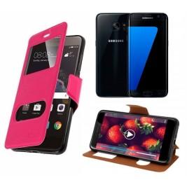 HOUSSE ETUI FOLIO SAMSUNG Galaxy S7 Edge (Rose)
