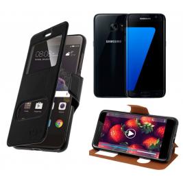 HOUSSE ETUI FOLIO SAMSUNG Galaxy S7 Edge (Noir)