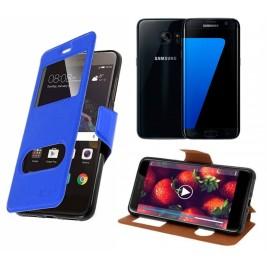 HOUSSE ETUI FOLIO SAMSUNG Galaxy S7 Edge (Bleu)