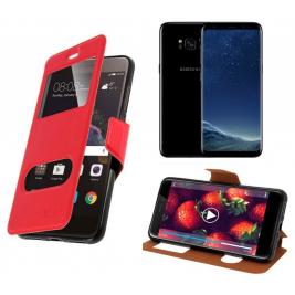 HOUSSE ETUI FOLIO SAMSUNG Galaxy S8 (Rouge)