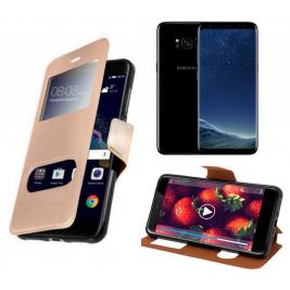 HOUSSE ETUI FOLIO SAMSUNG Galaxy S8 Plus (Doré)