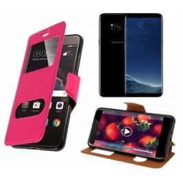 HOUSSE ETUI FOLIO SAMSUNG Galaxy S8 Plus (Rose)