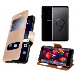 HOUSSE ETUI FOLIO SAMSUNG Galaxy S9 (Doré)