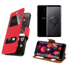 HOUSSE ETUI FOLIO SAMSUNG Galaxy S9 Plus (Rouge)