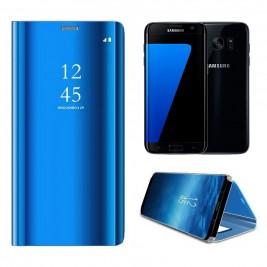 Etui Housse Clear View pour Samsung Galaxy S7 Edge Bleu