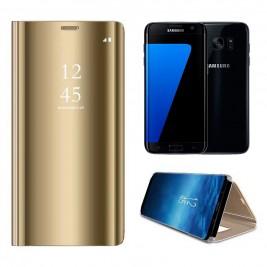 Etui Housse Clear View pour Samsung Galaxy S7 edge Or