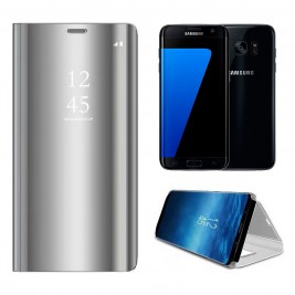 Etui Housse Clear View pour Samsung Galaxy S7 Edge Gris