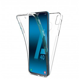 Coque 360 Degré Samsung Galaxy A40 – Protection en Rigide, Housse Etui Tactile 360 degré – Antichoc, Transparent