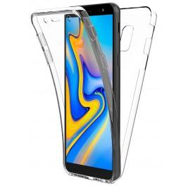 Coque 360 Degré Samsung Galaxy J6 Plus – Protection en Rigide, Housse Etui Tactile 360 degré – Antichoc, Transparent