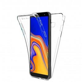 Coque 360 Degré Samsung Galaxy J4 Plus – Protection en Rigide, Housse Etui Tactile 360 degré – Antichoc, Transparent