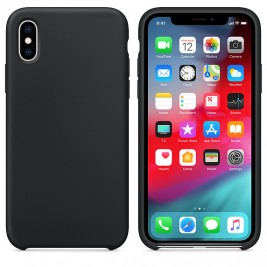Coque iPhone XS Max en Silicone Liquide Anti-Rayure Noir