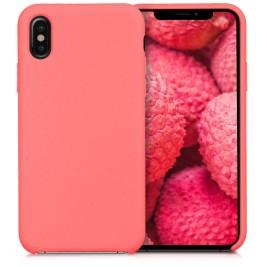 Coque iPhone XS Max en Silicone Liquide Anti-Rayure Corail