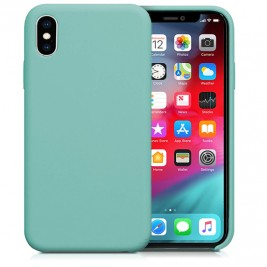Coque iPhone XS Max en Silicone Liquide Anti-Rayure Bleu Turquoise