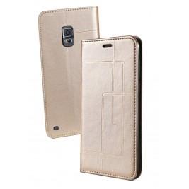 Etui Samsung Galaxy S5 et Pochette Multicarte avec fermeture Magnétique Doré