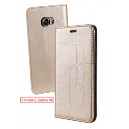 Etui Samsung Galaxy S6 et Pochette Multicarte avec fermeture Magnétique Doré