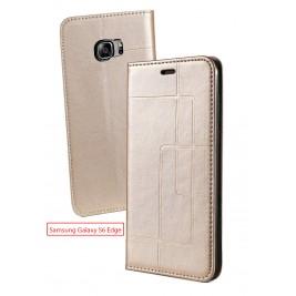 Etui Samsung Galaxy S6 edge et Pochette Multicarte avec fermeture Magnétique Doré