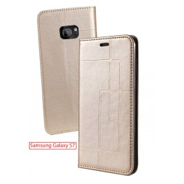Etui Samsung Galaxy S7 et Pochette Multicarte avec fermeture Magnétique Doré