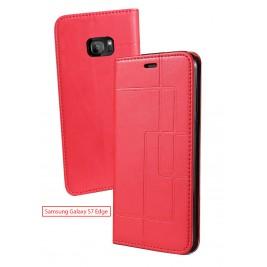 Etui Samsung Galaxy S7 Edge et Pochette Multicarte avec fermeture Magnétique Rouge