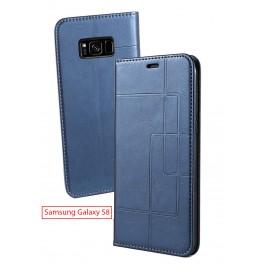 Etui Samsung Galaxy S8 et Pochette Multicarte avec fermeture Magnétique Bleu
