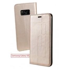 Etui Samsung Galaxy S8 et Pochette Multicarte avec fermeture Magnétique Doré