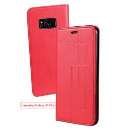 Etui Samsung Galaxy S8 Plus et Pochette Multicarte avec fermeture Magnétique Rouge