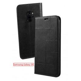Etui Samsung Galaxy S9 et Pochette Multicarte avec fermeture Magnétique Noir