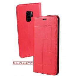 Etui Samsung Galaxy S9 et Pochette Multicarte avec fermeture Magnétique Rouge