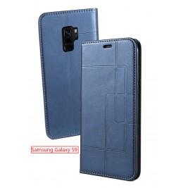 Etui Samsung Galaxy S9 et Pochette Multicarte avec fermeture Magnétique Bleu