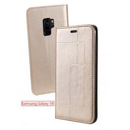 Etui Samsung Galaxy S9 et Pochette Multicarte avec fermeture Magnétique Doré