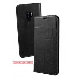 Etui Samsung Galaxy S9 Plus et Pochette Multicarte avec fermeture Magnétique Noir