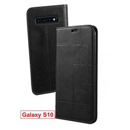 Etui Samsung Galaxy S10 et Pochette Multicarte avec fermeture Magnétique Noir
