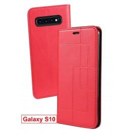 Etui Samsung Galaxy S10 et Pochette Multicarte avec fermeture Magnétique Rouge