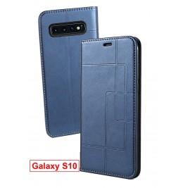 Etui Samsung Galaxy S10 et Pochette Multicarte avec fermeture Magnétique Bleu