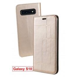 Etui Samsung Galaxy S10 et Pochette Multicarte avec fermeture Magnétique Doré