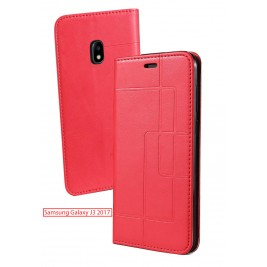 Etui Samsung Galaxy J3 2017 et Pochette Multicarte avec fermeture Magnétique Rouge